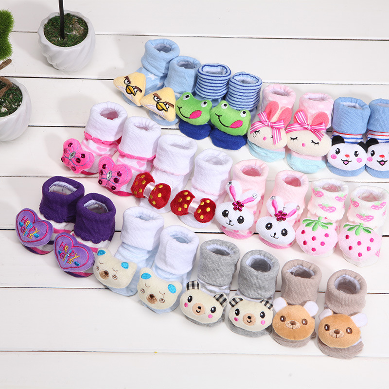 Newborn Baby Cartoon Socks For Boys And Girls Toddler Infantil Anti-Slip Cotton Animal Sock With Rubber Soles Meias 4pairs/lot