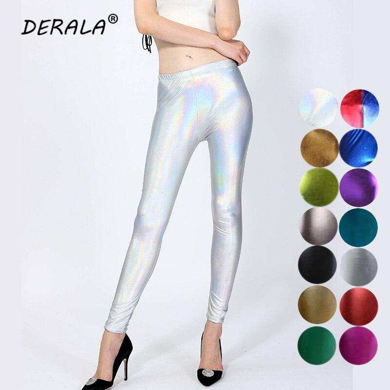 2018 Ladies Silver Metallic Shiny Laser Leather Leggings Women Candy Color Sexy Club Punk Rock Faux Leather Leggings Leggins