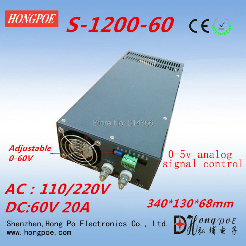Free Shipping 1200W 0-60V power supply S-1200-60 0-5V analog signal control 60V power supply 60V 20A AC110 or 230V input