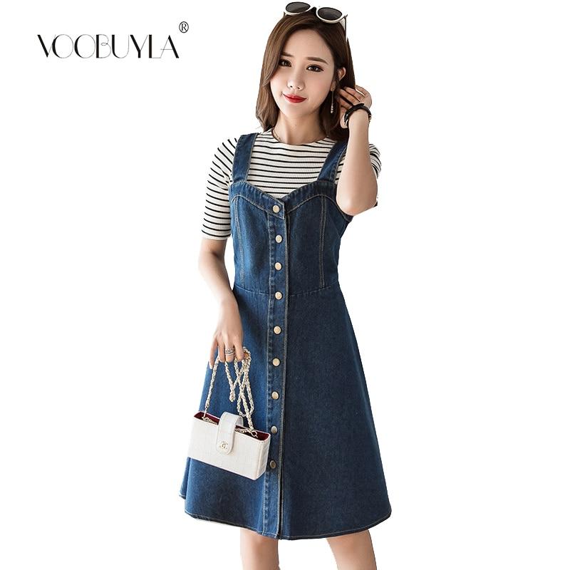 US $18.7 48% OFF|Voobuyla Women Denim Dress 2019 Fashion Single Breasted  Spaghetti Strap Jean Dress Tunic Big Hem Plus Size 5XL Dress Vestidos-in ...