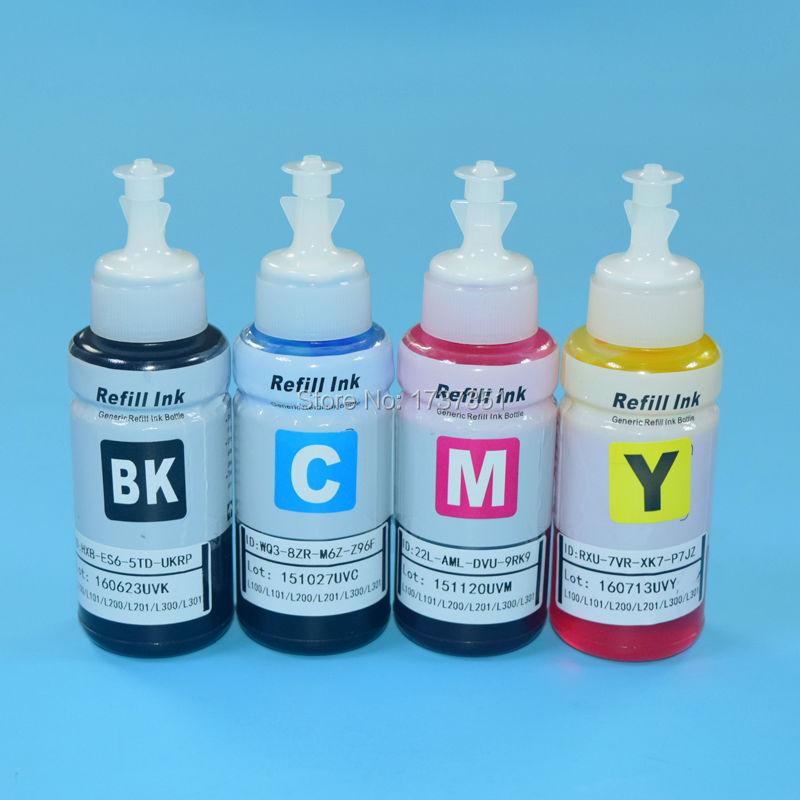 4PC Waterbased Dye Ink for Epson L100 L101 L110 L200 L201 L210 L211 L300 L301 L303 L350 L351 L353 inkjet printer|Ink Refill Kits| |  - title=