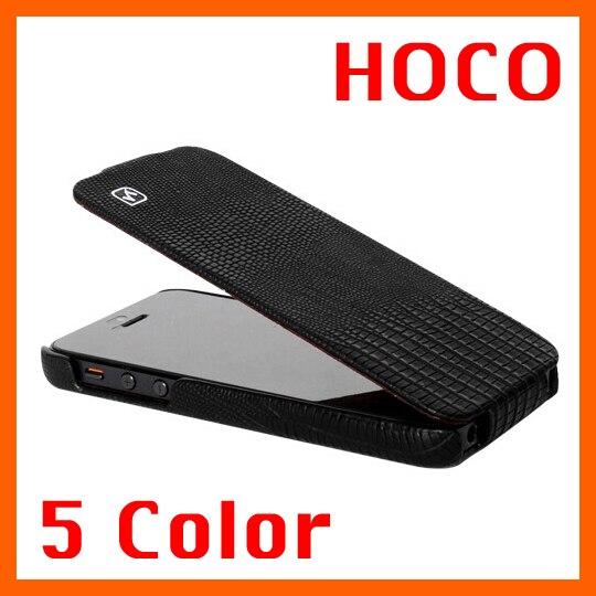 imágenes para 5 colores para el iphone 5 5s se original hoco marca lagarto de Lujo Del Tirón del teléfono cubierta de piel Real de Cuero Genuino natural case