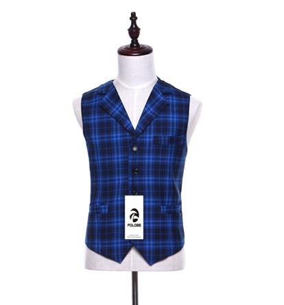 FOLOBE Laine Bleu Plaid Gilet Pour Hommes Slim Fit Hommes costume Gilet  Mâle Homme Casual Sans Manches Formelle Costume D affaires Gilet M12 dans  Gilets de ... 0fff3505537