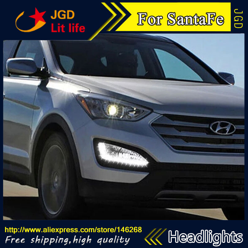 Free shipping ! 12V 6000k LED DRL Daytime running light for Hyundai SantaFe 2013 fog lamp frame Fog light Car styling
