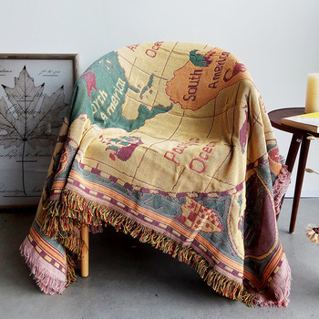 World Map Jacquard Cotton Blanket For Sofa Covers Thick Blankets Piano Cover Carpet AB-Side Coverlet 3-Sizes Bedspread