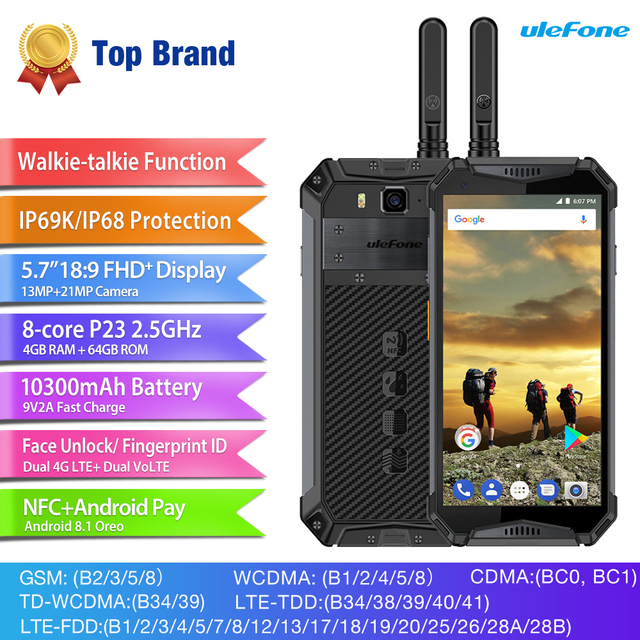 Ulefone Armor 3T IP68 Waterproof MT6763T Mobile Phone Android 8.1 5.7″ NFC Octa Core 4GB 64GB 10030mAh Walkie Talkie Smartphone