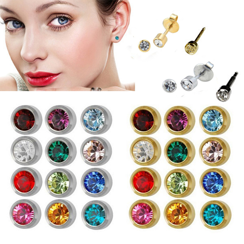 Showlove-12pairs Steel&Gold Ear Studs Piercing Earrings Mixed CZ gem Ear Studs 3mm, 4mm for you choose