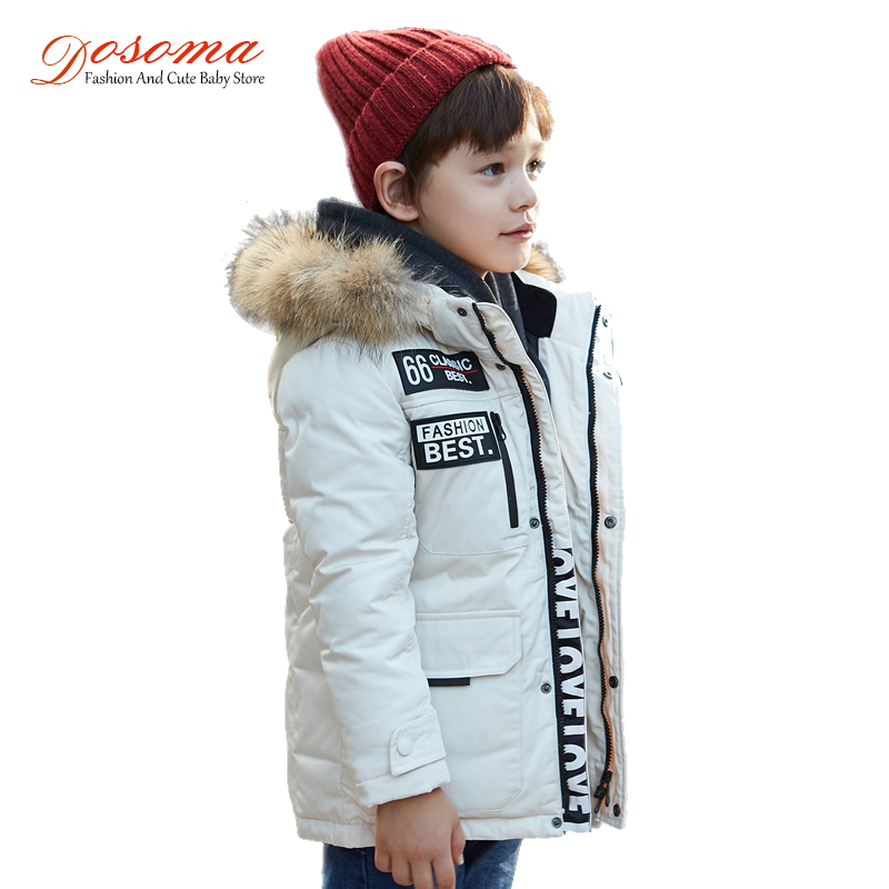 Dosoma Jacket For Boys White Duck Down Long Coats Jackets Winter Warm Faux Fur Collar Hooded Baby Parkas Kids Outerwear Clothes duck down jacket for boys 2017 russia winter warm thick down parkas children casual fur hooded jackets coats 30 degrees