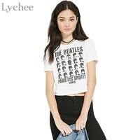Punk Rock Summer Women T Shirt THE BEATLES Letter Print Crop Top Bare Midriff Casual Loose