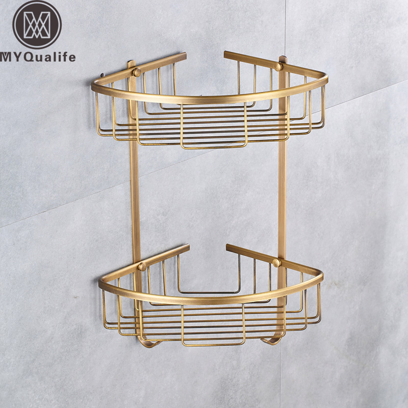 Wall Mounted Antique Brass Shelf Double Layer Shower Bath Cosmetic Storage Holder Bathroom Corner Basket Rack wall mounted chrome bathroom soap dish brass bath shower shelf new arrivals bath shampoo holder basket holder building material