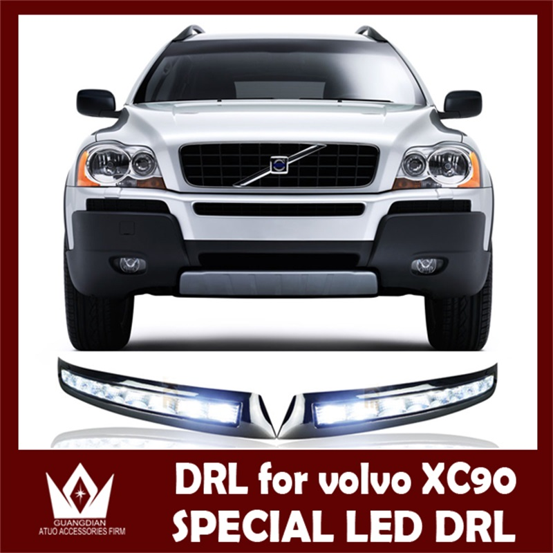 GuangDian 1Set New Car White LED DRL Daytime Running Light Auto LED Fog Lights For Volvo XC90 2007 2008 2009 2010 2011 2012 2013