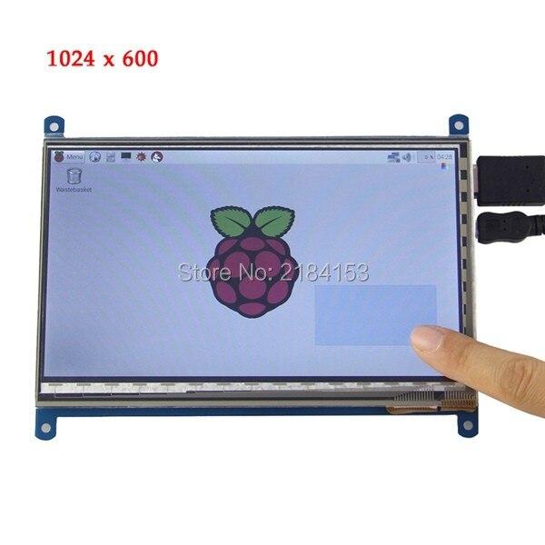 Free Shipping 7 Inch HDMI TFT Capacitive Touch Screen For Raspberry Pi 2 / Model B / B+ / B (1024 x 600)/ raspberry pi 3 raspberry pi 3 model b lcd display 7 inch tft hdmi 800 480 lcd with touch screen for raspberry pi 2 3 free shipping