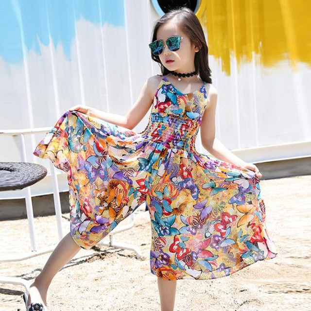 5a0f1c9274b Children Clothing 2018 Bohemian Print Girls Dress Summer Dresses Beach  Strap Sleeveless Teenager Dress Kids Dresses For Girls