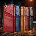 Estilo de negocios de lujo case para iphone 6 6 s plus cubierta de cuero titular de la tarjeta carpeta de la manera de shell funda para iphone 7 7 plus case