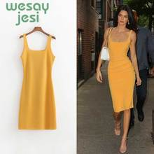 Dress women Summer Sexy square neck strap mini dress Skinny yellow  2010 bodycon party vestidos