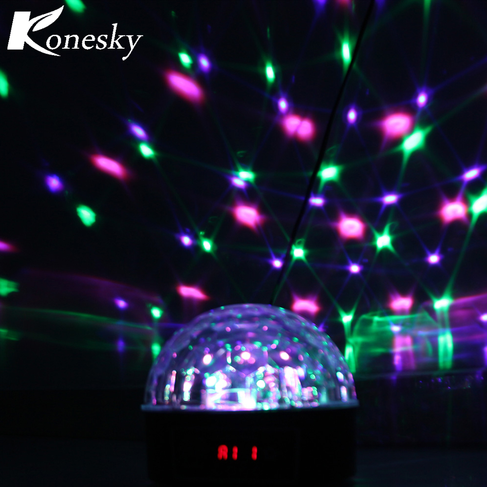 Industrial Light Sound Effect: RGB LED Stage Light Crystal Magic Ball Voice Remote