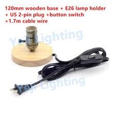 Edison Retro Lampe Halter Holzsockel E26 E27 Lampenfassung Mit UNS 2 PINS Stecker Button Switch Fr Schlafzimmer Beleuchtung Zub
