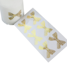 600pcs/lot New 4.5*3CM Golden Big Bow Gold Handmade Sweet Candy Packaging Sealing Label Sticker Adhesive Stationery Wholesale
