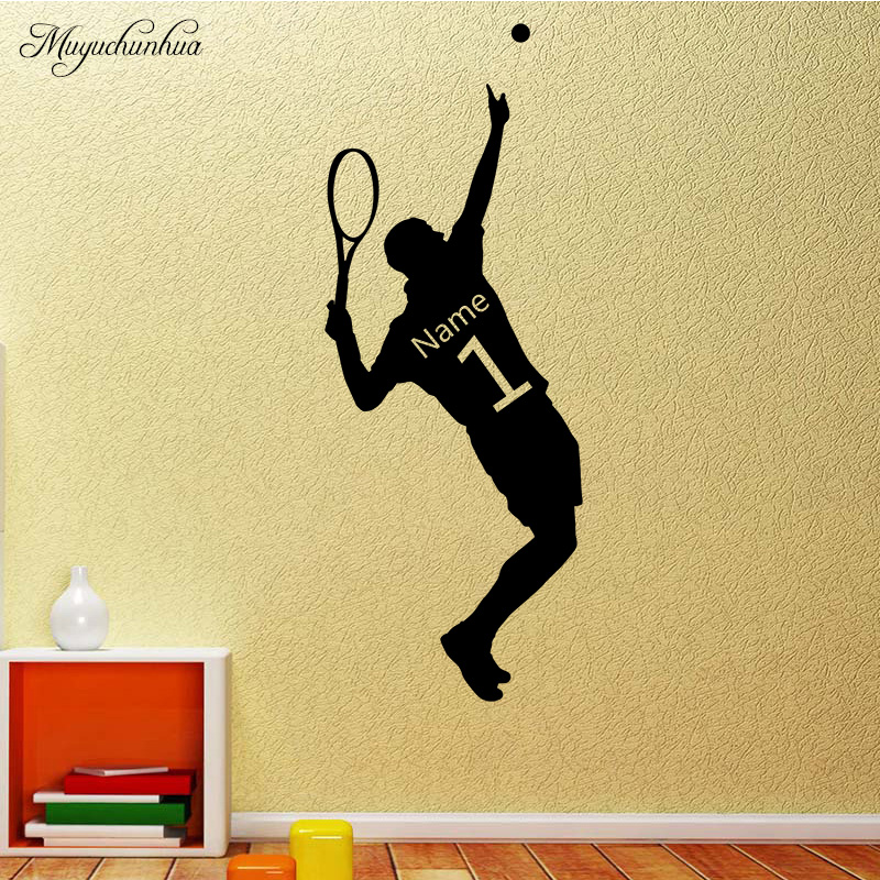 Muyuchunhua Tennis Player Pattern Wall Stickers Custom Name Sport Home Decoration for Living Room Kids Room Kids Dream Wallpaper