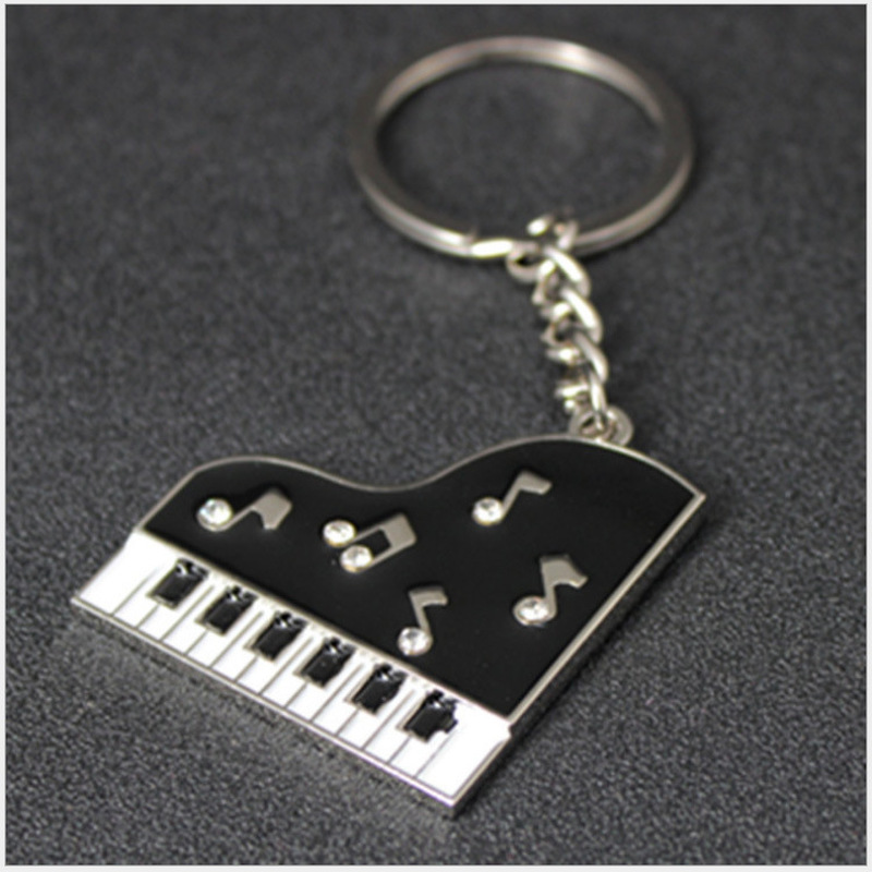 2018 Keychain Music Novelty Items Gifts Drill Glue Piano Key Button Metal Llaveros Car Key Chains Pendant