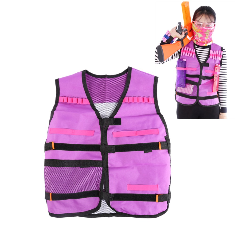 Women Gift Soft Bullet Tactical Darts Storage Waistcoat for Nerf Defense for CS War Games Tactical Equipment- Purple + Black