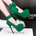 Экстремальные туфли на каблуках сексуальные каблуки женские туфли лук женщины туфли на платформе зеленый насосы красные свадебные каблуки женщины на каблуках D815