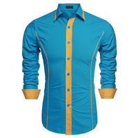 COOFANDY Shirts Men Fashion Dress Shirt Long Sleeve Patchwork Casual Shirts Blouse For Men US Plus