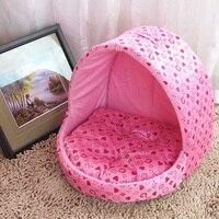 New Princess Dog Beds Pet Kennel Dot Corduroy Removable Mat Cat Dog House Pink 2 Colour