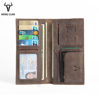 Mingclan Women Purse Long Clutch Wallet Vintage Crazy Horse Leather Card Holder Rfild SIM Card Ladies Purses Female Wallets Men