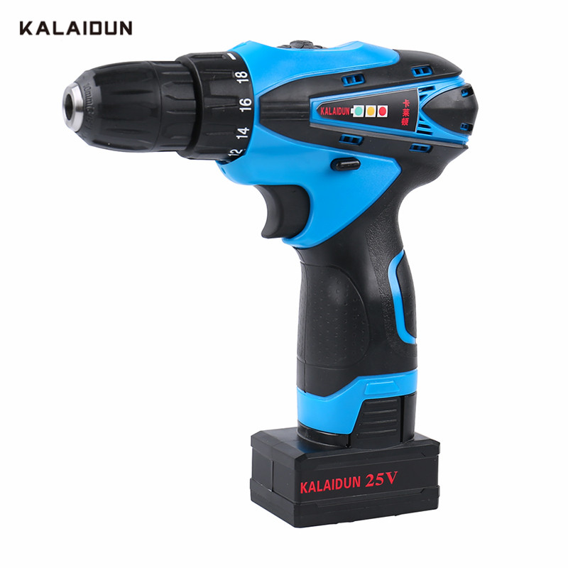 KALAIDUN 25V Electric Screwdriver Mobile Electric Drill Power Tools Screwdriver Lithium Battery Cordless Mini Hand tool free shipping brand proskit upt 32007d frequency modulated electric screwdriver 2 electric screwdriver bit 900 1300rpm tools