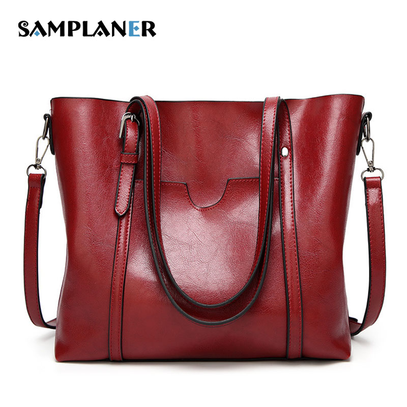 Samplaner Luxury Leather Tote Bags Women Shoulder Bag Solid Ladies Large Messenger Bags Female Shopping Handbags Bolsa Feminina casual women leather handbags bucket shoulder bags ladies cross body bags large capacity ladies shopping bag bolsa 6 colors