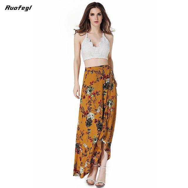 c603fa2c96 Ruofegl Vintage floral print long skirts women Summer elegant beach maxi  skirt Boho high waist asymmetrical skirt