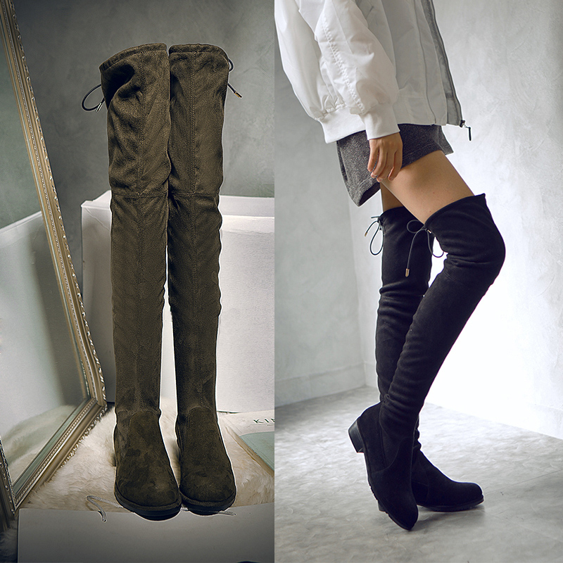 New Listing Thigh High Boots Women Shoes Elasticity Elongate and Slim Leg Over the Knee Long Boots Slip on Round Toe Botas Mujer
