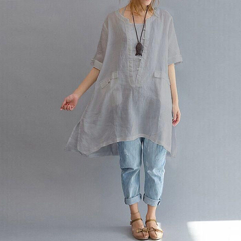 Women Irregularly hem Solid Shirts Chiffon Plus Size Office Lady Summer Casual Gowns Short Sleeve Crew Neck Loose Linen Long New