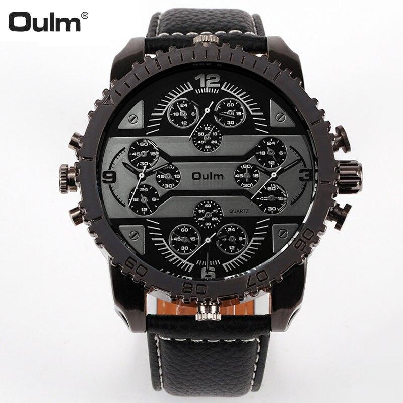 2262920885d Oulm 3233 Homens Relógios Moda Aviador Militar de Relógio de Couro relógio  de Pulso 4 Fuso