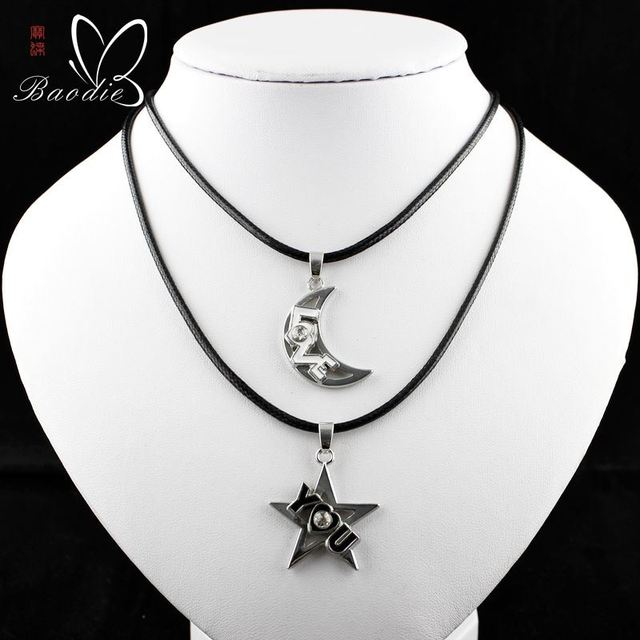 5c9379a5c4 Sun moon star pendant necklace with couples stainless steel valentine  couple woman/man lovers necklace pendant necklace