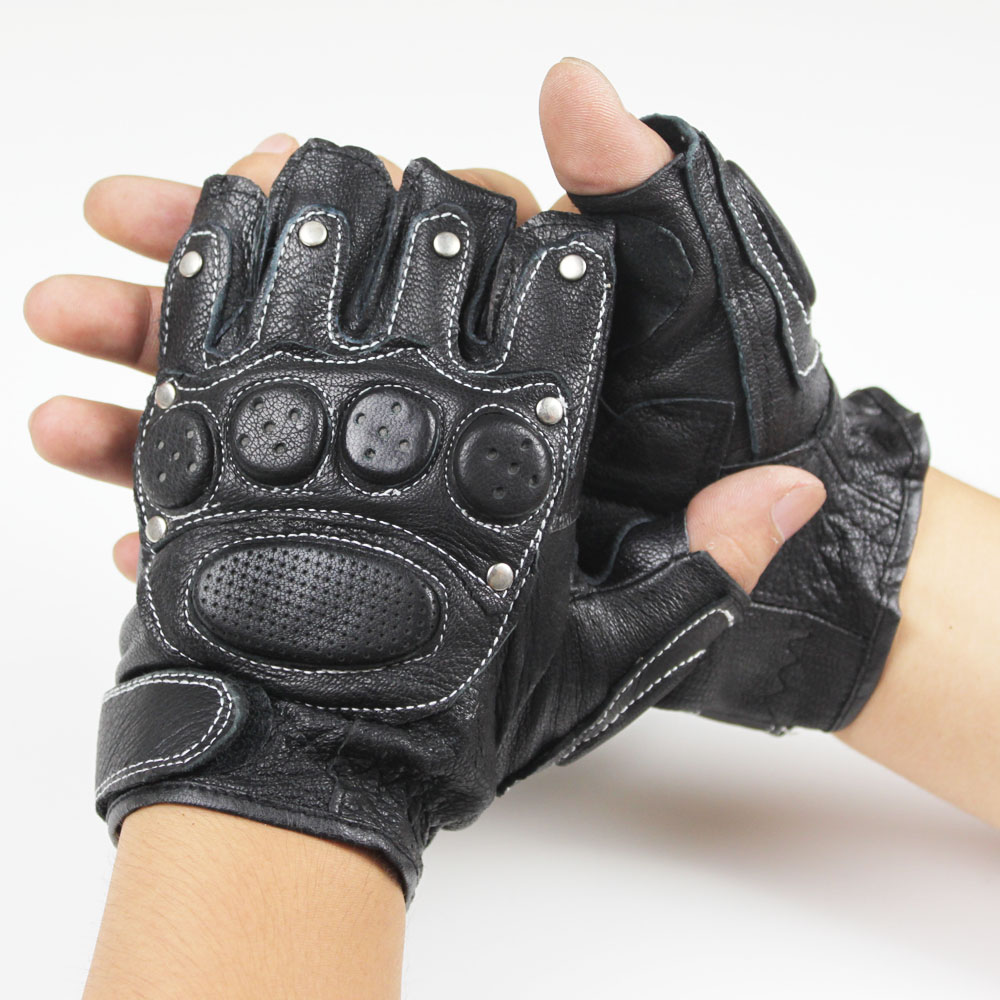 Leather palm work gloves wholesale - 2016 Men Genuine Leather Male Model Rivet Fitness Semi Finger Half Palm Outdoor Driving Tactic