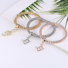 Bohopan 3PCS Unique Design Bracelets Bangles Set Elastic Three-layer Musical Note with Rhinestone in Jewelry