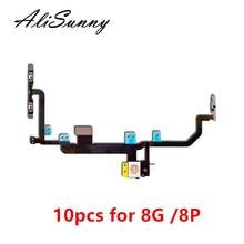 AliSunny 10pcs כוח נפח להגמיש כבל עבור iPhone 8 בתוספת 8G 8 P 8 + X אור פלאש על Off מתג בקרת מתכת סוגר חלק