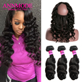 360 Lace Frontal With Bundles Malaysian Virgin Hair With Closure Loose Wave Pre Plucked 360 Lace Frontal Closure With Bundles