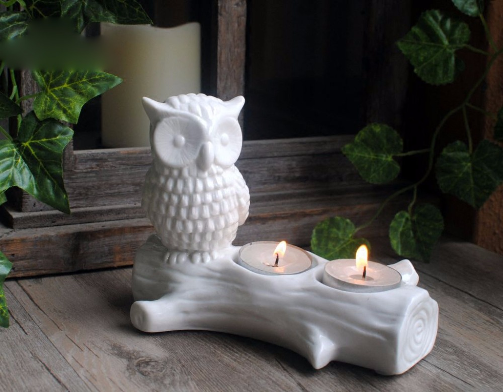 DW0034 Silicone mold cement concrete molds owl on the trunk candle holder Candlestick handmade flowerpot table