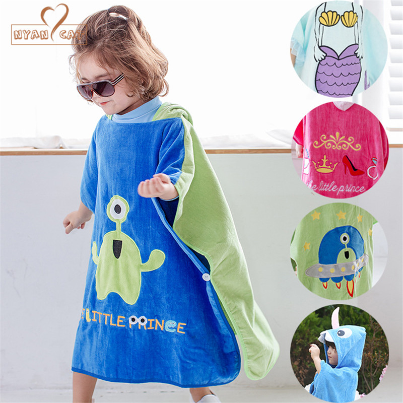 Children cotton new style velvet bathrobe boys girls cartoon mermaid princess unicorn sharp robe beach towels 70*140cm