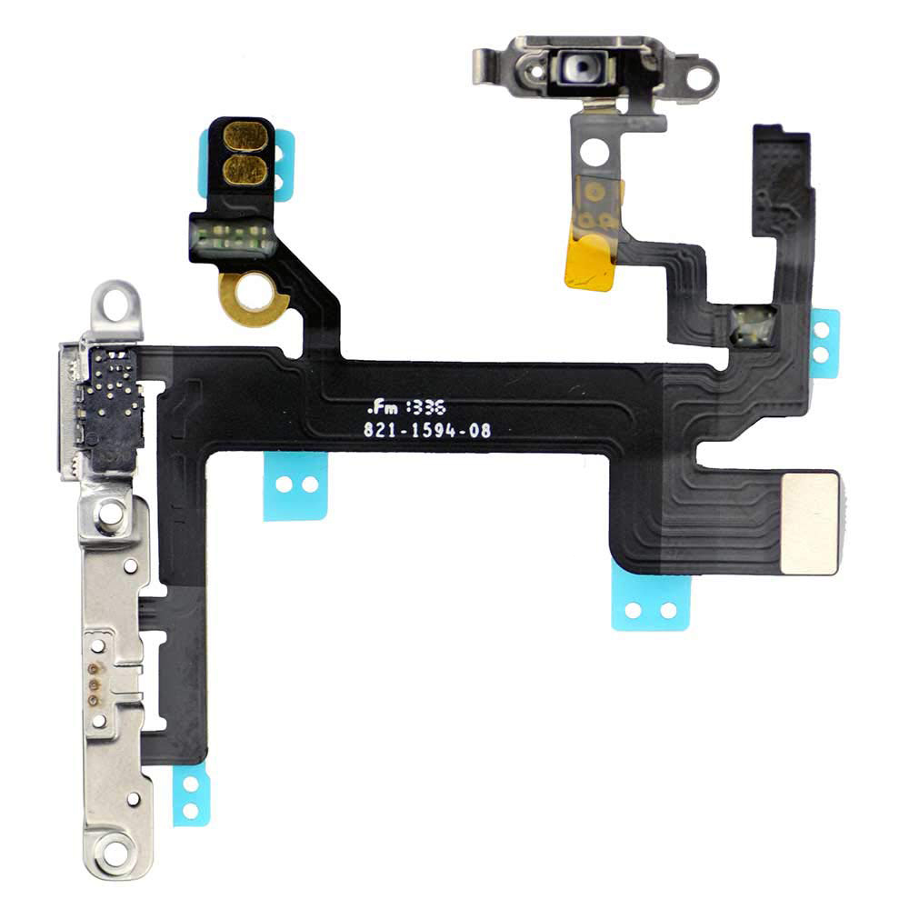 For IPhine 5 5c 5S Power ON/Off Button Mute Volume Control Button Switch Connector And Shock Flex Cable With Metal Bracket