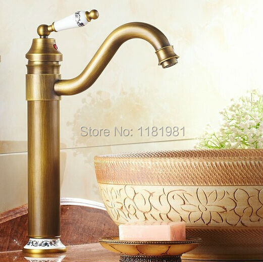 New Style Basin Faucet Antique Fnishing Brass 360 roatable taps bath mixer basin faucets hot and