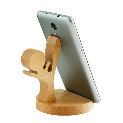 Kawaii Cool Kung Fu Boy Wood Phone Storage Holders Hand