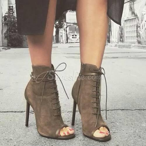 new year arrival grey suede black open toe lace up stiletto heel booties sexy ladies gladiator ankle bootsnew year arrival grey suede black open toe lace up stiletto heel booties sexy ladies gladiator ankle boots
