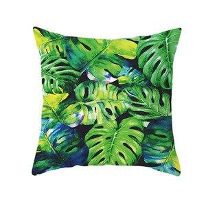 Image 2 - ตกแต่งสีเขียวพิมพ์โยนหมอนนุ่มสบายหมอนครอบคลุมสแควร์เบาะโพลีเอสเตอร์สำหรับโซฟาห้องนอน