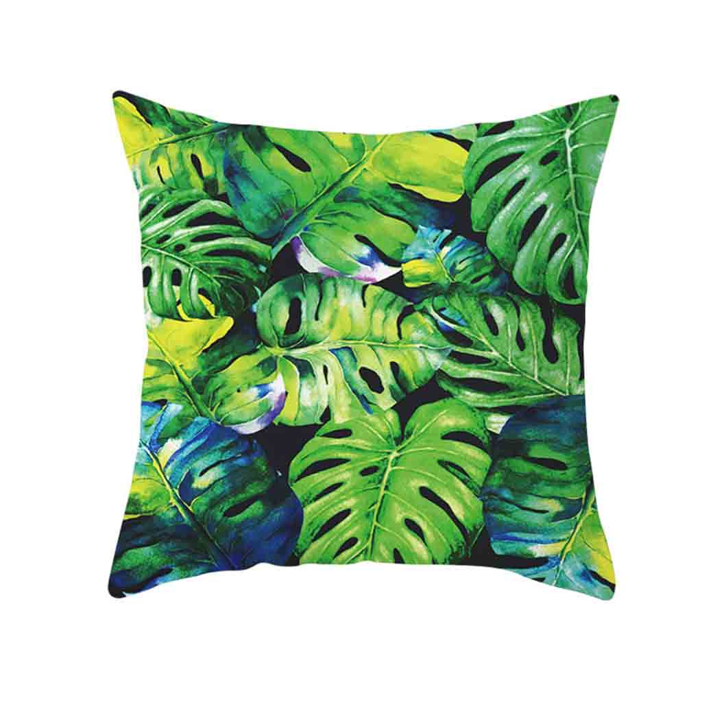 Image 2 - Decorative Green Leaf Printed Throw Pillow Cover Soft Comfortable Pillow Covers Square Polyester Cushion Case For Sofa Bedroom-in Cushion Cover from Home & Garden