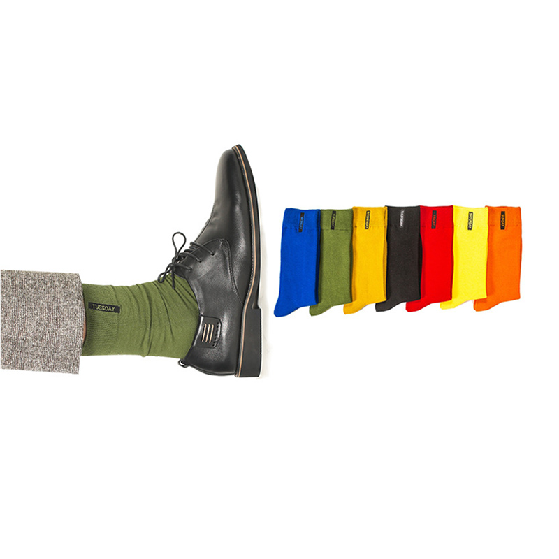 1 pair spring Winter Fashion Men Socks Cotton Solid Warm Brand Autumn Black Red Colorful Male Sock Type 2018
