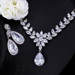 Image 4 - CWWZircons Elegant Women Wedding Jewellery African CZ Crystal Leaf Drop Bridal Necklace Bracelet and Earrings Jewelry Sets T294